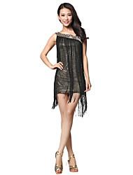 Dancewear Tecido Dança Latina Vestido com borlas para senhoras