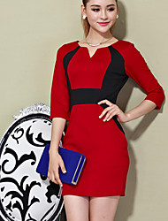 Foleyer Negro Color Block Vestido ajustado Red