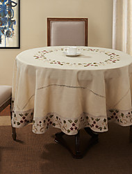 Beige Linen / Cotton Blend Round Table Cloths