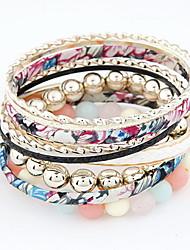 Fancy Multilayer Alloy With Beads Women's Bracelet