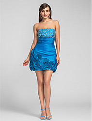 TS Couture Cocktail Party Prom Dress - Short Sheath / Column Strapless Short / Mini Taffeta with Beading Flower(s) Ruching