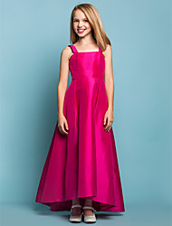 Lanting Bride® Asymmetrical Taffeta Junior Bridesmaid Dress A-line Square / Straps Natural with Sash / Ribbon