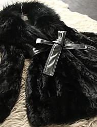 Long Sleeve Shawl Collar Mink Fur Party/Casual Coat
