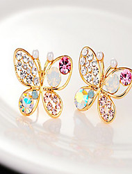 Stud Earrings Pearl Rhinestone Alloy Golden Jewelry Party Daily