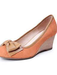 Tasteful Leather Round Toe Wedges with Bowknot Party Shoes(More Colors)