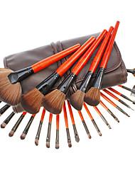 24pcs Dark Brown Leather High Professional Makeup Brush Sets