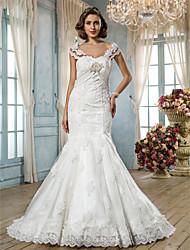 Lan Ting Trumpet/Mermaid Plus Sizes Wedding Dress - Ivory Court Train Sweetheart Tulle/Lace