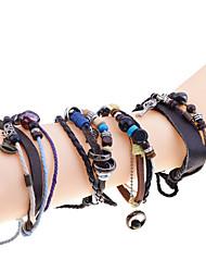 Женский Кожаные браслеты Кожа Бирюза Янтарь Мода В форме листа Коричневый Бижутерия 1шт