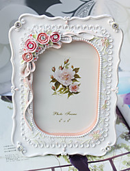 Floral Theme Resin Photo Frames Pink / White