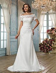 Lanting Trumpet/Mermaid Petite / Plus Sizes Wedding Dress - Ivory Sweep/Brush Train Off-the-shoulder Chiffon / Lace