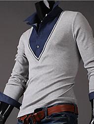 INMUR Men's Fashion V Neck Two Piece Like Knitting Tops