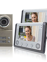 "Night Vision 7"" Video Door Phone For Neighbours 2 Families Apartments Cheap Set"