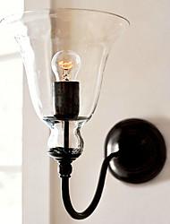 luz retro parede com sombra de vidro floral e suporte de metal