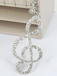 Simboli musicali alla moda oltre perforazione di lunga collana catena maglione femminile sezione note lunghe lampo catena di diamante N551