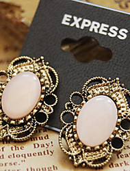 Stud Earrings Gemstone Alloy Vintage Victorian Pink Jewelry Daily