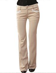 RIVER Vrouwen nieuwe collectie Borduren Flower lange broek Beige