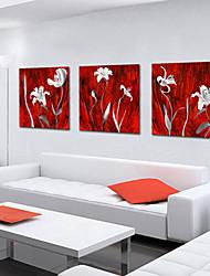 Reproduction transférée sur toile Art botanique pétales blancs Lot de 3