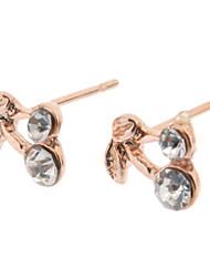 Rose Gold Cherry Stud Earrings