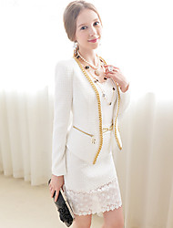 Women's White Blazer , Casual Long Sleeve