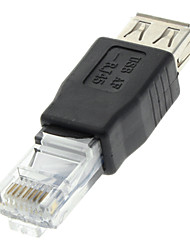 USB 2.0 Female to RJ45 Male Adapter Black for Ethernet