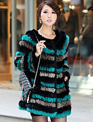 Long Sleeve Collarless Rabbit Fur Casual/Party Coat(More Colors)