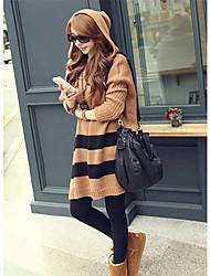 Women's Coffee Hooded Stripe Loose Sweater