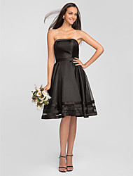 Bridesmaid Dress Knee Length Organza A Line Strapless Dress (663675)