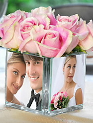 Table Centerpieces Glass Photo Cube Vase  Table Deocrations