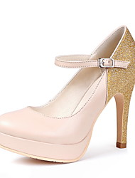 Tasteful Leather Closed Toe Platform Pumps with Sparking Glitter and Buckle Party Shoes