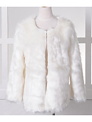 Fur Vest With Stylish Long Sleeve Collarless  In Faux Fur Party/Casual Coat