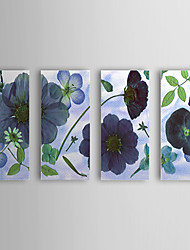 Hand Painted Oil Painting Floral Blue Flower with Stretched Frame Set of 4 1309C-FL0857