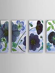 Hand geschilderd olieverfschilderij Bloemen Blauwe Bloem met gestrekte frame Set van 3 1309C-FL0857