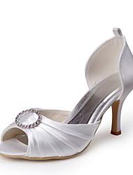 Bom gosto Cetim Peep Toe Pumps com babados e strass sapatos de casamento