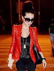 JANE FANS Fashion Shoulder Pad Wash Zipper Leather Clothing