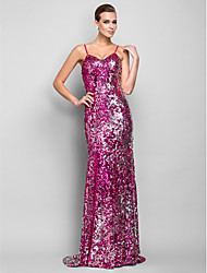 TS Couture Formal Evening Military Ball Dress - Sparkle & Shine Trumpet / Mermaid Spaghetti Straps Floor-length Sequined withPleats
