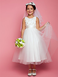 LAN TING BRIDE A-line Tea-length Flower Girl Dress - Satin Tulle Jewel with Beading Appliques Bow(s) Ruching
