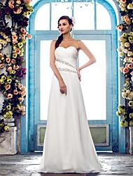 Lanting Bride Sheath/Column Petite / Plus Sizes Wedding Dress-Sweep/Brush Train Sweetheart Chiffon