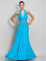Sheath/Column Halter Floor-length Chiffon Evening/Prom Dress (699409)