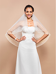 Fashion Two-tier Fingertip Wedding Veil With Beaded & Pearls Edge