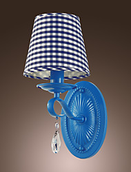 60W Modern Crystal Wall Light with Fabric Shade in Blue Check Pattern