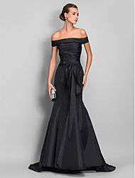 TS Couture® Formal Evening / Black Tie Gala Dress - Open Back Plus Size / Petite Trumpet / Mermaid Off-the-shoulder Sweep / Brush Train Taffeta with