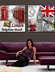 Stretched Canvas Art Landscape Symbol of London Set of 2