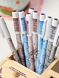Plástico Negro Gel Ink Pen periódico del vintage (color al azar)