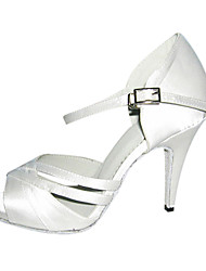 Customizable Women's Dance Shoes Latin/Ballroom Satin Customized Heel White