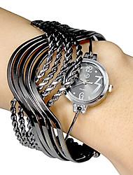 Многожильных женские Кольца Браслеты Дизайн черный циферблат кварцевые аналоговые часы браслет