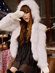 Sweet Long Sleeve Hooded Faux Fur Casual/Athletic Jacket