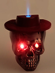 Cool Skull Heads Style Blue Flame Butane Lighter W/ Light + Sound (Color According To Hat)