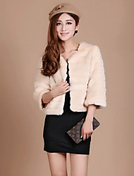3/4 Sleeve Collarless Faux Fur Party/Casual Jacket