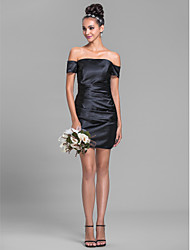 Short / Mini Off-the-shoulder Bridesmaid Dress - Sexy Sleeveless Stretch Satin