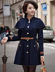CHAOLIU Women's Casual Slim Cape Coat Send Belt Random